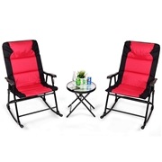 Costway 3 pcs Outdoor Folding Rocking Chair Table Set