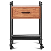 Costway 2-Tier End Coffee Living Room Table with Drawer   Wheels