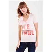 True Religion Live True Deep V-neck Womens Tee - Blush