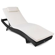 Costway Outdoor Rattan Chaise Lounge Chair