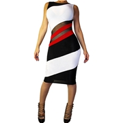 Pink Queen White Bodycon Mesh Bandage Sleeveless Club Dress