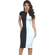 Pink Queen Black Fashion Womens Short Sleeve Knee Length Club Bodycon Dress
