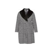 Dorothy Perkins *DP Curve Black Check Print Wrap Coat