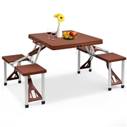 Costway Outdoor Foldable Aluminum Picnic Table with Bench Seats