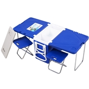 Costway Multi Functional Rolling Picnic Cooler w/ Table   2 Chairs-Blue