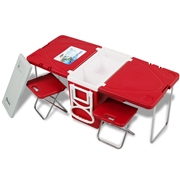 Costway Multi Functional Rolling Picnic Cooler w/ Table   2 Chairs-Red