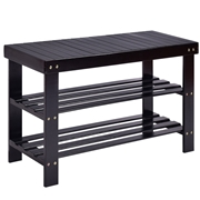 Costway 3 Tier Bamboo Bench Storage Shoe Shelf-Black