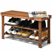 Costway 3-Tier Bamboo Shoe Bench Storage Rack Organizer