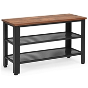 Costway 3-Tier Shoe Rack Industrial Bench with Storage Shelves-Brown