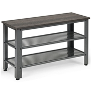 Costway 3-Tier Shoe Rack Industrial Bench with Storage Shelves-Black