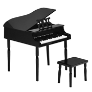 Costway 30-Key Wood Toy Kids Grand Piano with Bench   Music Rack-Black