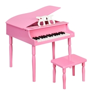 Costway 30-Key Wood Toy Kids Grand Piano with Bench   Music Rack-Pink