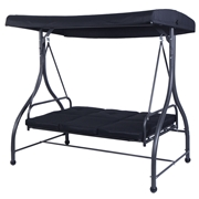 Costway 3 Seats Swing Chair Bench Hanging Cushioned Furniture Outdoor Patio Garden color-Black