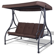 Costway 3 Seats Swing Chair Bench Hanging Cushioned Furniture Outdoor Patio Garden color-Brown