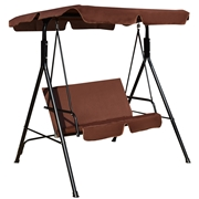 Costway Love Seat Patio Canopy Swing-coffee