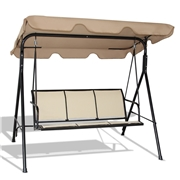 Costway Outdoor Patio Swing Canopy 3 Person  Chair-Brown