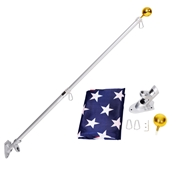 Costway 5/6 Ft Telescoping Flagpole Spinning Wall Mount USA Flag Kit-6