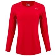 Under Armour Heatgear Alpha Womens Long Sleeve Shirt; Red/Silver; Large