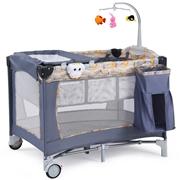 Costway Foldable 2 Color Baby Crib Playpen Playard-Gray