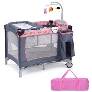 Costway Foldable 2 Color Baby Crib Playpen Playard-Pink