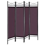 Costway 4 Panels Metal Frame Room Private Folding Screen-Brown