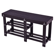 Costway Wooden Shoe Bench Boot Storage Shelf-Black