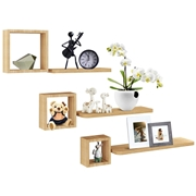 Costway Set of 6 Home Display Floating Wall Mounted Shelves-Natural
