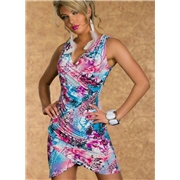 Pink Queen Sleeveless Deep V Night Club Dress