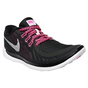 Nike Free 5.0 Youth Training Shoes - Black/Pink; 4