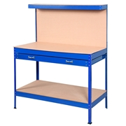 Costway Blue Work Bench Tool Storage Steel Workshop Table W/ Drawer and Peg Board