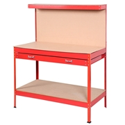 Costway Steel Frame Storage Work Bench with Drawer-Red