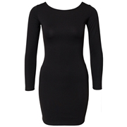 Pink Queen Black Fashion Ladies Back Zipper Plain Color Long Sleeve Club Dress