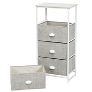 Costway Chest Storage Tower Side Table Display with 4 Drawers-Gray