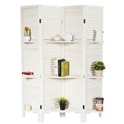 Costway 4 Panel Folding Room Divider Screen with 3 Display Shelves-White