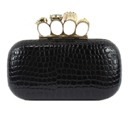 22 geekbuy Women Banquet Handbag Metallic PU Clutch Bag - Black