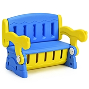 Costway 3-in-1 Multifunction Armchair Toddler Seat Kids Learning Table-Blue