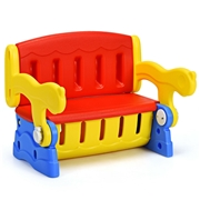 Costway 3-in-1 Multifunction Armchair Toddler Seat Kids Learning Table-Red
