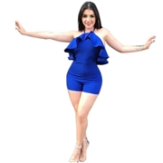 21 geekbuy Women Tight Suspenders Strapless Dress Bodysuit for Evening Party Night Club Size S-Blue