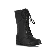 ELLIE SHOES Kids Black Combat Boots - Size 9/10 by Spencers