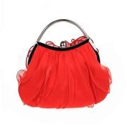 21 geekbuy Womens Satin Lace Clutch Bag Evening Bridal Wedding Fashion PHandbag M53T - Red