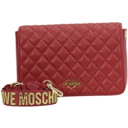Love Moschino Womens Quilted Heart Logo Crossbody Handbag - White