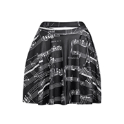 Pink Queen Black Chic Womens Music Score Printed Pleated Skirt